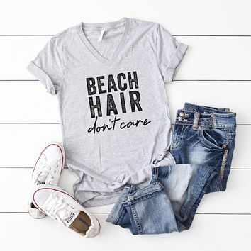 Beach Hair Don't Care | V-Neck Graphic Tee