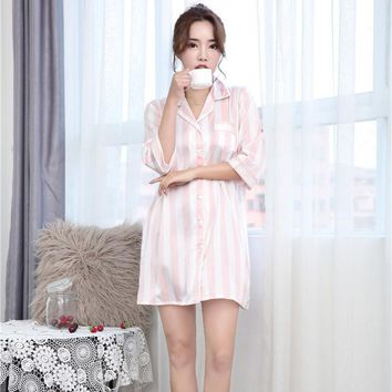 Sexy Robe Satin Rayon Sleepwear Soft Nightwear Loose Sleepshirt  Vertical Stripe Home Dressing Gown Mini Intimate Lingerie