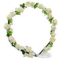 Beautiful Flowers Wreath Headband Floral Crown Garland Halo with Floral Wrist Band for Wedding Festivals FWB1904 (Beige)