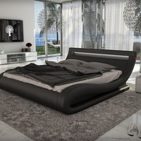 Modrest Corsica - Contemporary Black Leatherette Bed with Headboard Lights