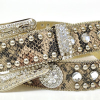 Nocona Ladies Snake Print Round Concho Western Rhinestone Leather Belt