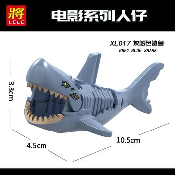 Single Sale XL017 Deep Sea Shark Legoing Pirates Of The Caribbean Figure Ghost Zombie Shark Building Blocks Legoings Figures Toy