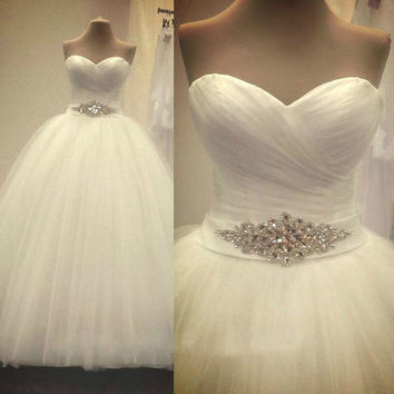 Simple Wedding Dress Romantic Sweetheart Ball Gown Luxury Beading Sparkly Bling Bling Illusion Wedding Dress Vestido De Noiva 42124219
