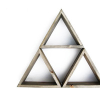 Triangle Shelf Set of 3 - Shadow box shelves - Barnwood Grey Wash