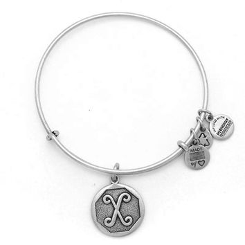 Alex and Ani Initial X Charm Bangle Bracelet - Rafaelian Silver Finish