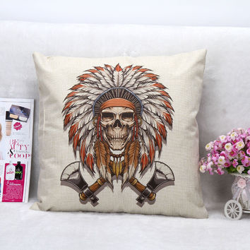 Vintage Printed Pillow Case Halloween Skull AX Cushion Cotton Linen Cover Square 45X45CM
