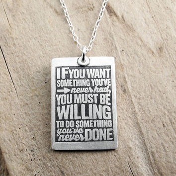 Graduation jewerly - Inspirational quote necklace - Thomas Jefferson - Motivational quote jewelry - Eco friendly reclaimed silver
