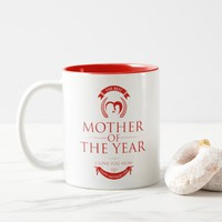Modern Red The Best Mother of the Year Two-Tone Coffee Mug