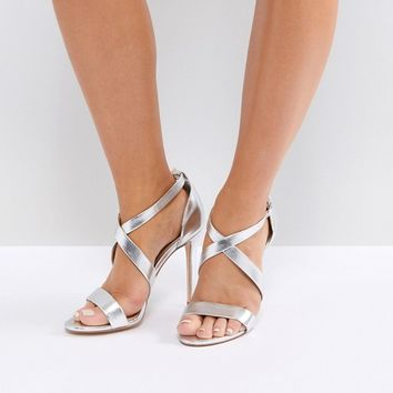 Office Harper Silver Strappy Heeled Sandals at asos.com