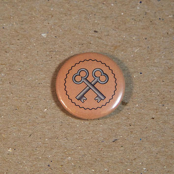 The Society of the Crossed Keys Pin back Button Magnet by Wes Anderson The Grand Budapest Hotel - 1 or 1.25 Inch Pinback Button Pin Badge