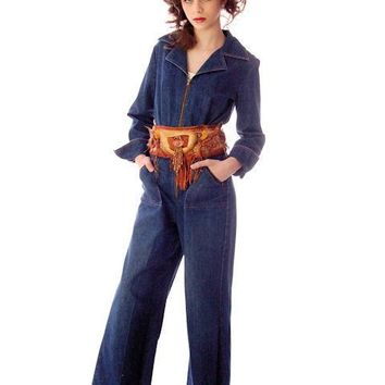 Vintage Womens Denim Jumpsuit 1970s Sears Bust 38
