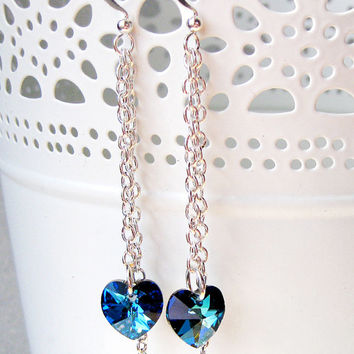 Bermuda Blue Swarovski Heart Earrings - Swarovski Dangle Earr. 3a8aa9941