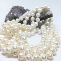 Natural White Freshwater Pearl Bead Necklace Hand Knotted 60 inches Long, Pearl Earrings included