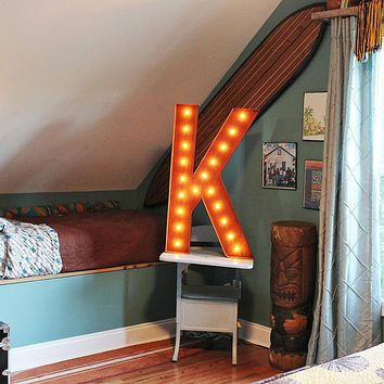 "36"" Letter K Lighted Vintage Marquee Letters (Rustic)"