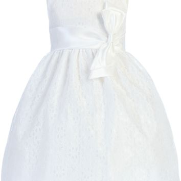 White Floral Lace Tulle Overlay Satin Spring Dress with Satin Sash (Toddler & Girls Sizes)