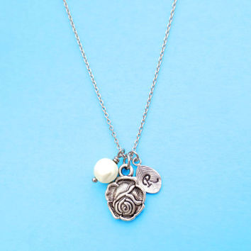 Belle, Rose, Initial, Rose, Necklace, Beautiful, Simple, Modern, Cute, Jewelry, Gift, Necklace, Disney, Necklace, Rose, Necklace