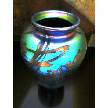 Iridescent Abstract Glass Vase Signed by Artist Don Richardson Numbered Dated