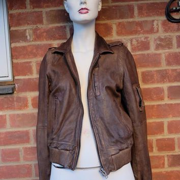 ALL SAINTS brown leather zip up jacket! NWOT XS