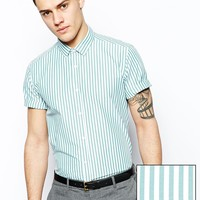 ASOS Smart Shirt In Short Sleeve With City Stripe