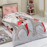 100%COTTON 3pcs PARIS SHOPPING SINGLE TWIN QUILT DUVET COVER BEDDING SET LINENS