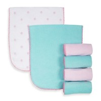 Gerber® 6-Pack Flower/Stripe Terry Over the Shoulder Burp Cloths in Pink/Aqua