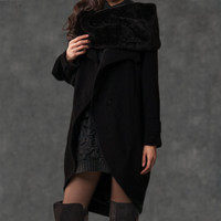Black Red Pea Coat with Detachable Cowl Snood Scarf - Cashmere Circular Hemline &  Concealed Button Closure-(007)