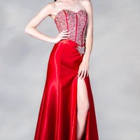 PRIMA C13885 Red or Blue Jeweled Prom Dress