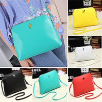 Hot Korean Women Candy Tote Handbag PU Leather Shoulder bag Cross Messenger