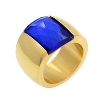 Luxury Brand Love Fine Jewelry Sapphire Blue Crystal Ring 18K Gold Engagement Wedding Ring Anel Finger Big Stone Ring For Women