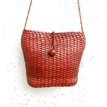 Vintage Woven Leather Tote , Crossbody Bag / Handmade / Small - Medium