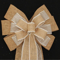 Burlap White Rustic Wedding Bows