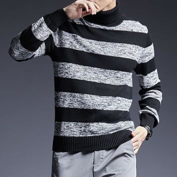 New Fashion Brand Sweater For Men Pullover Turtleneck Slim Fit Jumpers Knitwear Warm Korean Style Casual Men Clothes