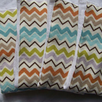 Absorbent Boutique Flannel Burp Cloth, Multicolor Chevron, Baby Shower Gift, Baby Boy, Baby Girl, Gender Neutral, Baby Essentials, Prefolds