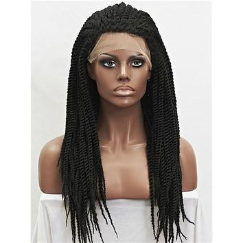 Long African Style Braids Jet Black Synthetic Lace Front Wig