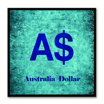 Australia Dollar Money Currency Aqua Canvas Print with Black Picture Frame Home Decor Wall Art Collection Gifts