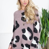 Pewter Leopard Eyelash Sweater