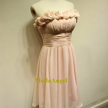 Light Pink Chiffon Bridesmaid Dresses, Affordable Casual Hawaiian Style Elegant Short Bridesmaid Dresses
