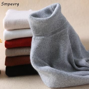 Smpevrg high collar women sweater and pullovers winter woman sweaters long sleeve warn wool knitted female pullover