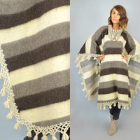MEXICAN vtg 70s bold stripe boho hippie fringed WOOL PONCHO, one size fits all