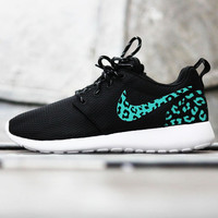 Custom Nike Roshe Run sneakers, tiffany blue cheetah print, leopard print, womens custom nike roshe cute trendy design Limited Stock