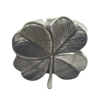 Silver Toned Textured Lucky Four Leaf Clover Adjustable Size Fashion Ring