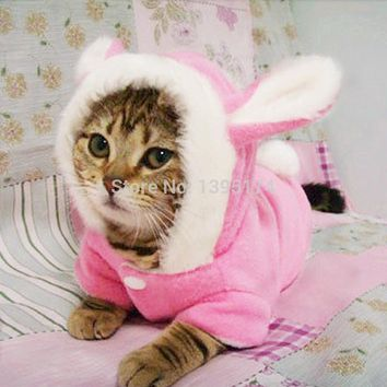 New Cute Pet Cat Clothes Easter Bunny Costume Hooded Coat Fleece Warm Rabbit Outfit Clothing for Cats 29