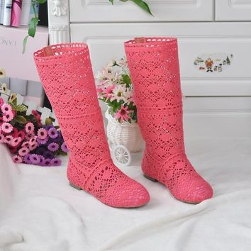 Women  Knee High  Lace Boots