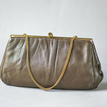 1960s top handle handbag faux leather. Peanut brown retro purse for women. Evening bag minimalist her. Cocktail purse for women vintage gift