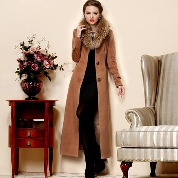 New Autumn Winter Wool Cashmere Coat Luxury Raccoon fur Woolen trench Women elegant Long Overcoat Thickening outerwear Maxi Coat