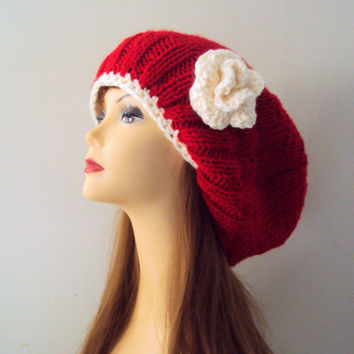 Hand Knit Super Slouchy Beanie Hat with Flower Chunky Red Hat Dreadlock Rasta Hat Women Clothing Fashion Accessories Valentine's Day Gift