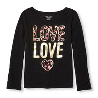 Girls Long Lace Sleeve Embellished Graphic Top | The Children's Place