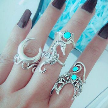 DCCKR2 Joint ring exaggerated hippocampus moon turquoise 6-piece ring