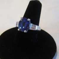 Estate Platinum Tanzanite and Diamond Ring Engagement Ring or Wedding Ring