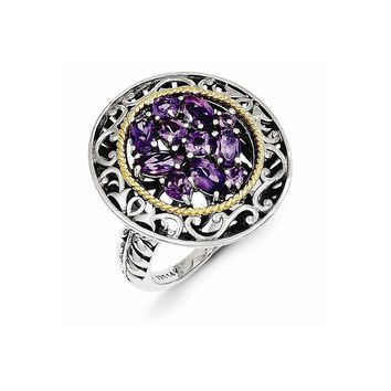 Antique Style Sterling Silver with 14k Yellow Gold Diamond & Amethyst Ring